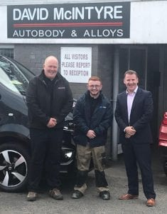 Lee Curran on his Bodyshop Apprentice scholarship award with his employer David McIntyre of David McIntyre Autobody and Alloys in Coleraine