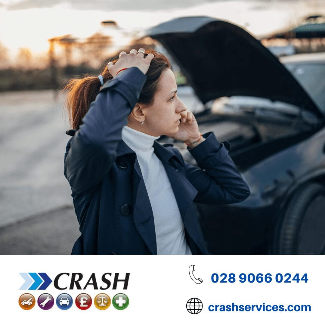 woman phones crash services after an accident